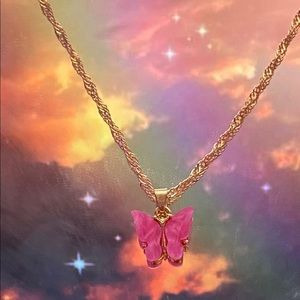 Rose butterfly necklace